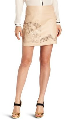 Halston Women's Leather Skirt With Laser Cut Detail