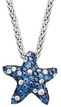 Effy Sapphire Splash by Multicolor Sapphire Pave Starfish Pendant Necklace in Sterling Silver (2-3/4 ct. t.w.)