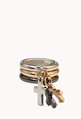 Forever 21 Chained Cross Ring Set