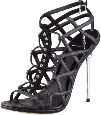 Brian Atwood Mirante Studded Stretch Cage Sandal, Black