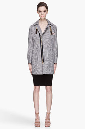 Altuzarra Navy pinstriped belted collar Gail jacket