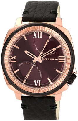Vince Camuto Flyback Dial Leather Strap Watch, 43mm