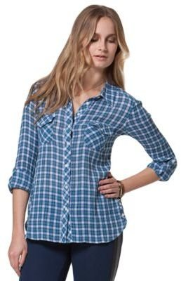 C AND C Crinkle Plaid Blouse