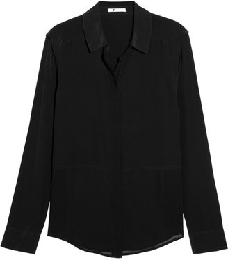 Alexander Wang Paneled washed silk-crepe shirt