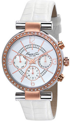 Kenneth Cole NEW YORK Ladies' Rose Gold-Tone Stainless Steel & Leather Multi-Function Watch