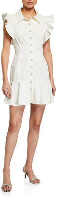 Cinq à Sept Yvette Frilled Cap-Sleeve Shirtdress