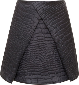 Kenzo Quilted Satin Reptile Jacquard Skirt