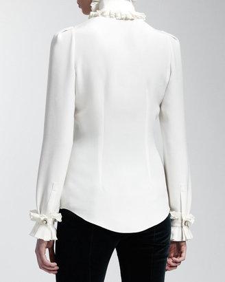 Alexander McQueen Ruffled Silk Blouse, Ivory