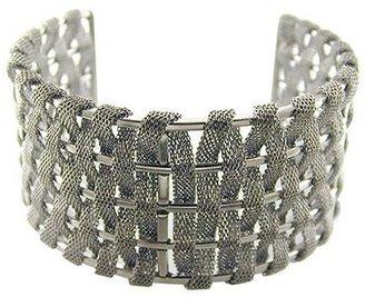 Stainless Steel Mesh Cuff Bracelet - Silver