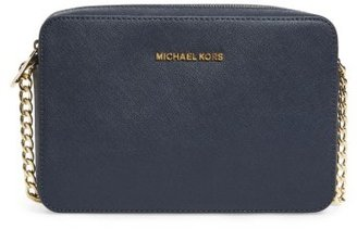 Michael Michael Kors 'Large Jet Set' East/west Saffiano Crossbody Bag - Blue $148 thestylecure.com