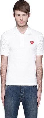 Comme des Garcons White Red Logo Applique Polo