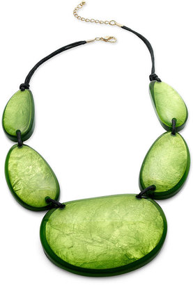 Style&Co. Necklace, Gold-Tone Green Resin Shell Necklace