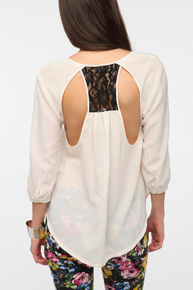 Sparkle & Fade Lace Inset Open Back Blouse