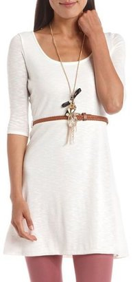 Charlotte Russe Belted Lace-Back Hacci Dress