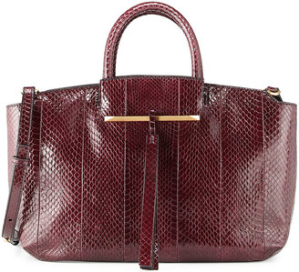 Brian Atwood Gena East-West Snake Tote Bag, Crimson