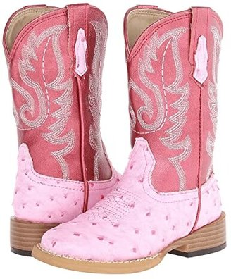 Roper Square Toe Ostrich (Toddler/Little Kid) (Pink/Red) Cowboy Boots