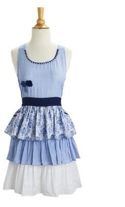 Sur La Table Blue Gingham Tiered Vintage-Inspired Apron