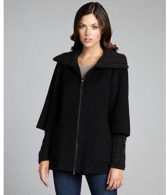 Mackage black wool blend knit sleeve coat
