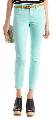 Charlotte Russe Refuge Mid-Rise Ankle-Zip Skinny Jean