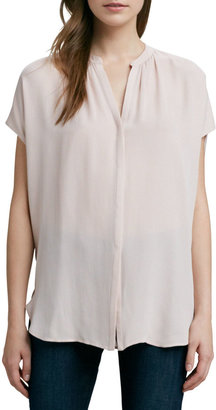 Vince Cap-Sleeve Placket Silk Blouse, New Buff