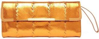 Bottega Veneta Oro Metallic Watersnake Clutch
