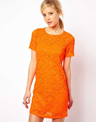 Asos Sparkle Shift Dress In Lace