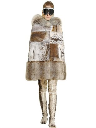Moncler Gamme Rouge Raccoon And Beaver Printed Faille Cape