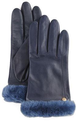 UGG Fur-Trim Leather Smart Gloves, Dark Blue