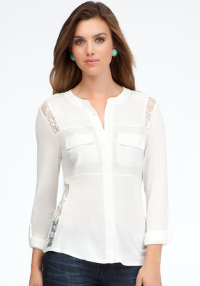 Bebe Long Lace Contrast Button Up Blouse