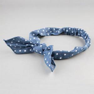 Full Tilt Polka Dot Denim Bow Headband