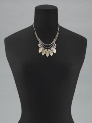 New York & Co. Faux Pearl and Leaf Short Chain Necklace