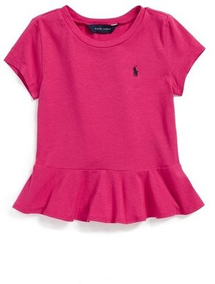 Ralph Lauren Peplum Tee (Toddler Girls & Little Girls)