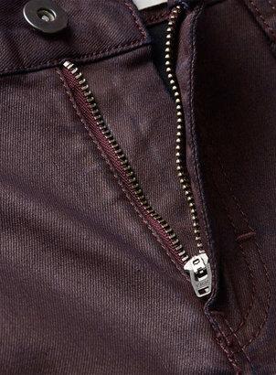 Topman Burgundy Coated Super Spray On Skinny Jeans