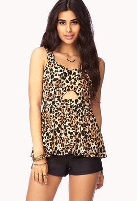 Forever 21 Wild Thing Cutout Cheetah Top