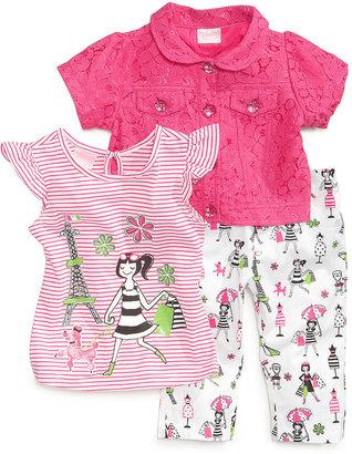Nannette Little Girls' 3-Piece Parisian Jacket, Top & Pants Set