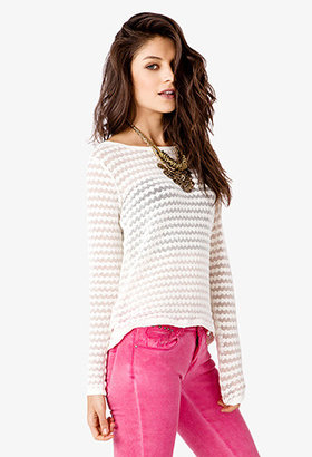 Forever 21 Open Knit Striped Top