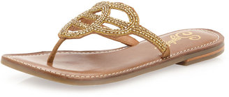 Seychelles Crying Out Loud Beaded Flat Sandal, Gold