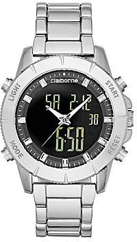 Claiborne Mens Silver-Tone Analog/Digital Chronograph Watch