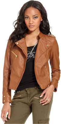 GUESS Jacket, Long-Sleeve Faux-Leather Studded Jacket