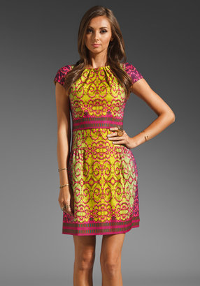 Nanette Lepore RUNWAY Crystal Ball Silk Cotton Faceted Dress in Chartreuse/Mulberry