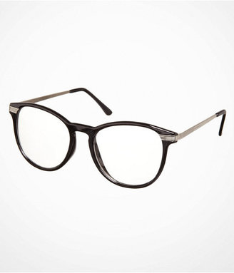Express Oversized Metal Accent Clear Glasses