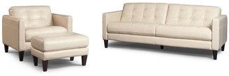 Milan 3-Piece Leather Sofa Set: Sofa, Chair and Ottoman