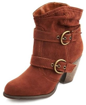 Charlotte Russe Fur-Lined Sueded Ankle Bootie
