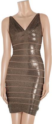 Herve Leger Sequined bandage dress