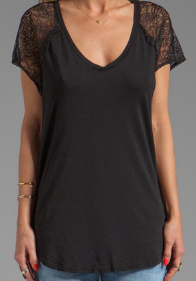 Michael Stars Lace V Neck w/ Lace Short Sleeve Tee