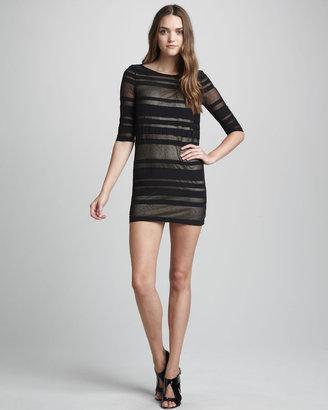 Robert Rodriguez Sheer-Stripe Dress