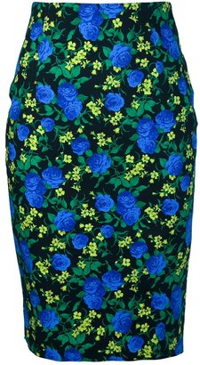 MSGM Floral Pencil Skirt