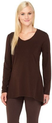 Denim & Co. Perfect Jersey Long Sleeve V-Neck Trapeze Hem Top