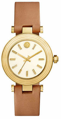 Tory Burch The Classic T Luggage Leather Gold-Tone Watch