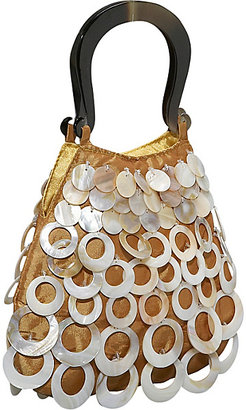 Global Elements Evening Bag - Layered Mother of Pearl Circles on Silk